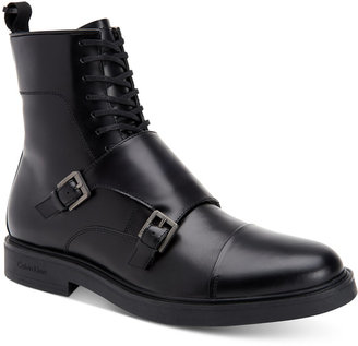 Calvin Klein Men's Davis Monk Strap Leather Boots $160 thestylecure.com