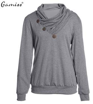 Kenancy Gamiss New Arrival Women's Decorative Buttons Delicate Cowl Neck Fashion Casual Long Sleeve Hoodies