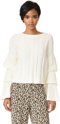 endless rose Ruffle Sleeve Sweater $88 thestylecure.com