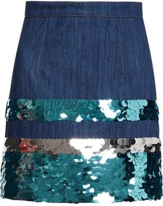Miu Miu (ミュウミュウ) - Miu Miu sequin embroidered denim skirt