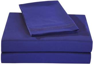 Honeymoon 1800 Brushed Microfiber Embroidered Bed Sheet Set, Ultra Soft, Queen - Navy Blue