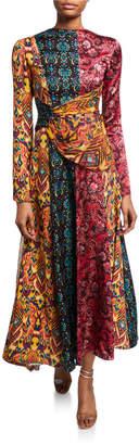 Prabal Gurung Taxila Floral Mix-Print Cutout Dress