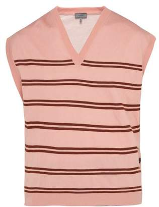 Lanvin Striped V Neck Wool Blend Sweater - Mens - Light Pink