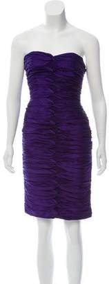 Carmen Marc Valvo Strapless Silk Dress