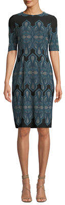London Times Leaf-Print Half-Sleeve Sheath Dress