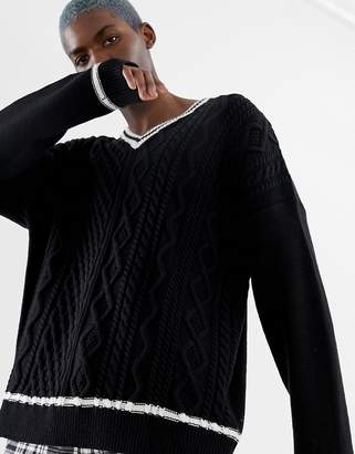 Collusion COLLUSION v-neck cable knit sweater with contrast tipping