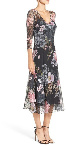 Women's Komarov Chiffon & Lace A-Line Dress 2