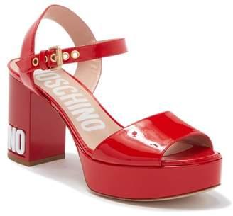 Moschino Logo Platform Ankle Strap Sandal