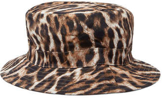 R 13 Leopard-print Canvas Bucket Hat - Brown