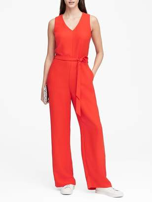 Banana Republic Petite V-Neck Tie-Waist Jumpsuit