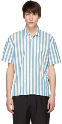 Burberry White and Blue Short Sleeve Vertical Stripe Shirt