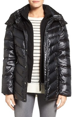 Women's Calvin Klein Fleece Inset Down Jacket $228 thestylecure.com