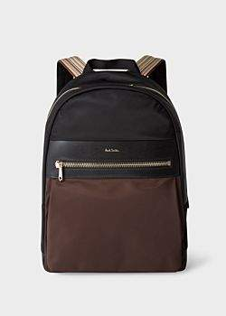 Paul Smith Men's Black And Chocolate Brown Canvas Backpack