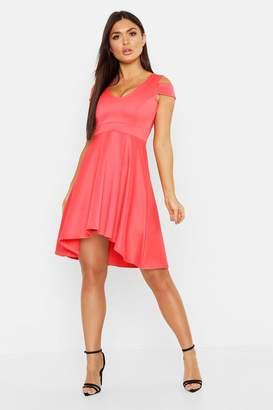 boohoo Bardot Plunge Low High Skater Dress