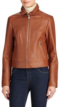 Women's Lauren Ralph Lauren Shirt Collar Leather Jacket $450 thestylecure.com
