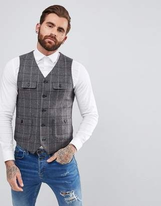 Asos DESIGN Skinny Vest In Gray & Burgundy Wool Mix Check