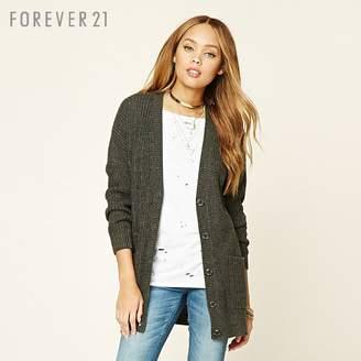 Forever 21 (フォーエバー 21) - Forever 21 ボタンフロントリブカーディガン