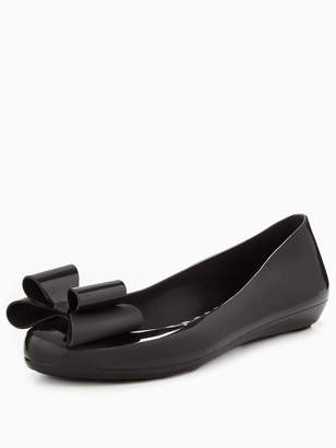 Zaxy Pop Bow Jelly Ballerina Shoe - Black