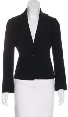 Valentino Ruffle-Accented Long Sleeve Blazer