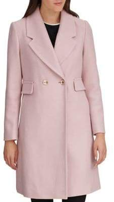 Karl Lagerfeld Paris THE COAT EDIT Double-Breasted Wool-Blend Reefer Coat