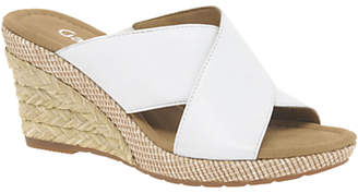 Gabor Purpose Wide Fit Wedge Heeled Sandals, White Leather