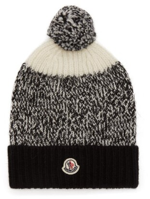 Moncler - Pompom Wool Beanie Hat - Womens - Black