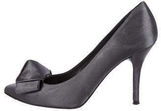 Stuart Weitzman Satin Bow Accented Pumps