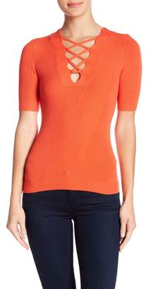 Minnie Rose Ribbed Lace-Up Neck Tee