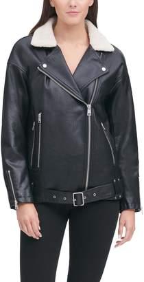 Levi's Women's Sherpa-Lined Faux Leather Moto Jacket