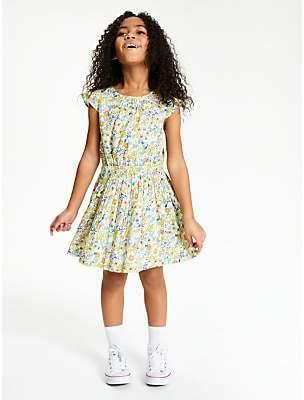 John Lewis & Partners Girls' Ditsy Floral Print Dress, White