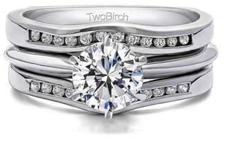 TwoBirch 2 Piece Bridal Set Includes: Guard and 1 Ct Solitaire ,Cubic Zirconia mounted in Sterling Silver. (1.98ctw)