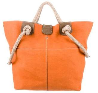 Ghurka Leather-Trimmed Canvas Tote