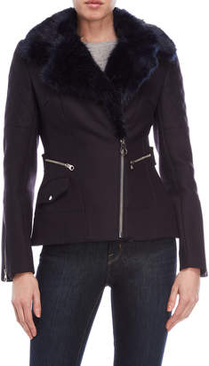 Karen Millen Midnight Blue Faux Fur Trim Biker Coat