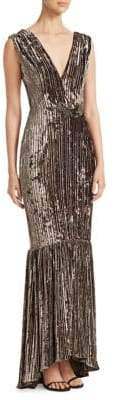 David Meister Pleated Velvet Mermaid Gown