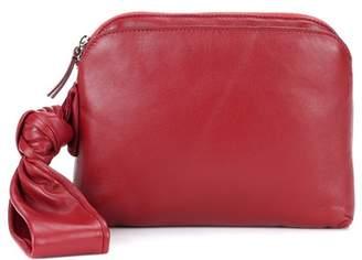 Wristlet leather clutch