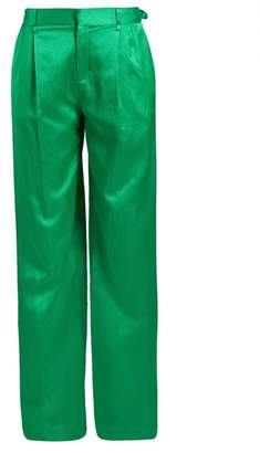 ATTICO High Waist Wide Leg Satin Trousers - Womens - Green