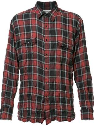 Saint Laurent crinkle-effect checked shirt