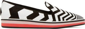 Nicholas Kirkwood Black & White Chevron Loafers $645 thestylecure.com