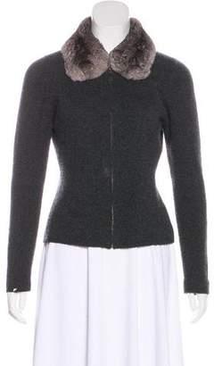 Gucci Fur-Trimmed Zip-Up Cardigan
