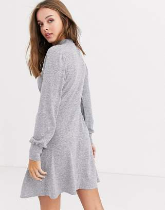 New Look high neck long sleeve mini dress in gray
