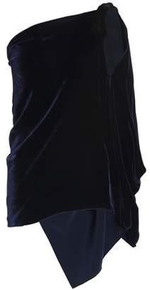 Roland Mouret Chilton One-Shoulder Draped Velvet Top
