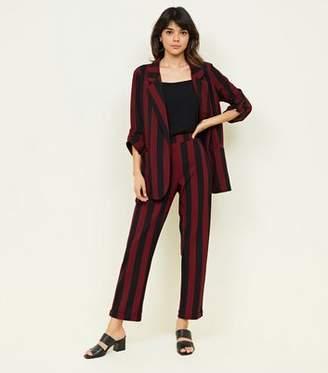 New Look Burgundy Stripe Crepe Straight Leg Trousers