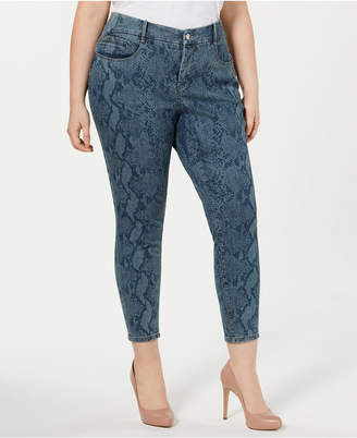Ysj Plus Size Snake-Print Skinny Ankle Jeans