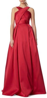 ML Monique Lhuillier Halter Ball Gown w/ Crisscross Bodice