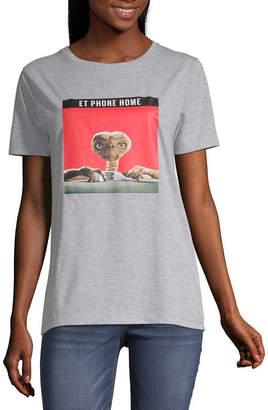 Universal Womens Crew Neck Short Sleeve Graphic T-Shirt-Juniors