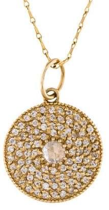 Mizuki 14K Diamond Pavé Disc Pendant Necklace
