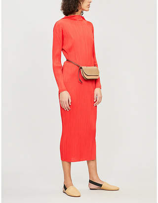 Pleats Please Issey Miyake High-neck pleated midi dress