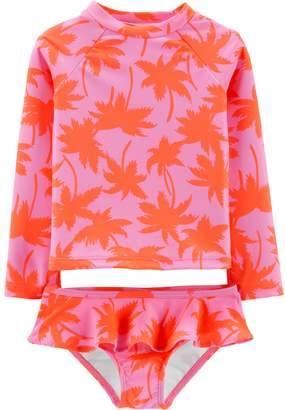 Osh Kosh Oshkosh Bgosh Toddler Girl Palm Tree Rashguard & Ruffle Bottoms Set