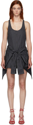 Alexander Wang Black and Grey Poplin Tie Waist Bodysuit