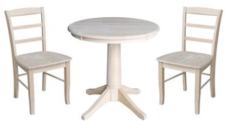 """INC International Concepts 30"""" Round Pedestal Dining Table with 2 Madrid Chairs - Unfinished - 3 Piece Set"""